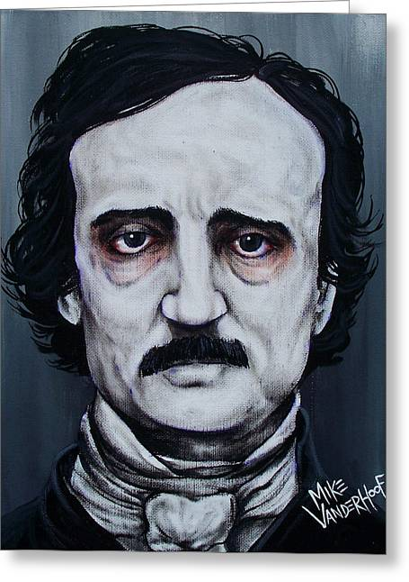 Photos Of Cats Paintings Greeting Cards - Edgar Allan Poe Greeting Card by Michael Vanderhoof