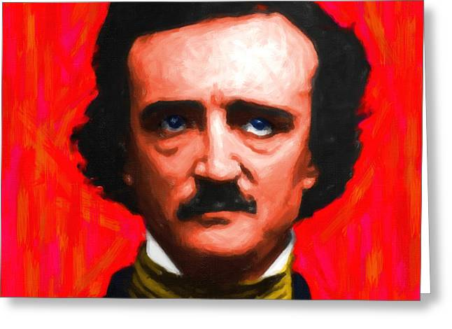 Edgar Alan Poe Greeting Cards - Edgar Allan Poe - Painterly - Square Greeting Card by Wingsdomain Art and Photography