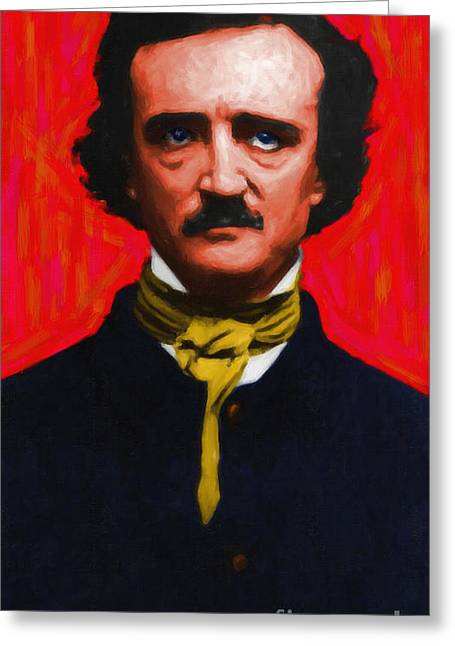 Mustache Digital Art Greeting Cards - Edgar Allan Poe - Painterly Greeting Card by Wingsdomain Art and Photography