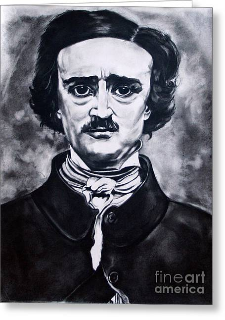 Kim Drawings Greeting Cards - Edgar Allen Poe Greeting Card by Kim Chigi