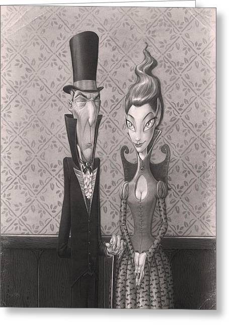 Corset Drawings Greeting Cards - Edgar and Larissa Greeting Card by Richard Moore