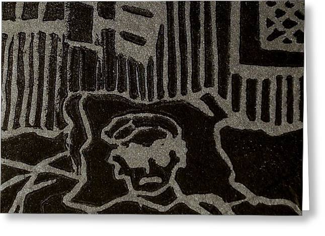 Recently Sold -  - Linocut Paintings Greeting Cards - Edgar Greeting Card by Erika Chamberlin