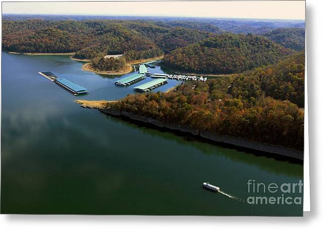 The Nature Center Greeting Cards - Edgar Evins Marina with Houseboat Greeting Card by Louis Colombarini