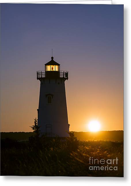 Risk Security Greeting Cards - Edgartown Light Sunrise Greeting Card by John Greim