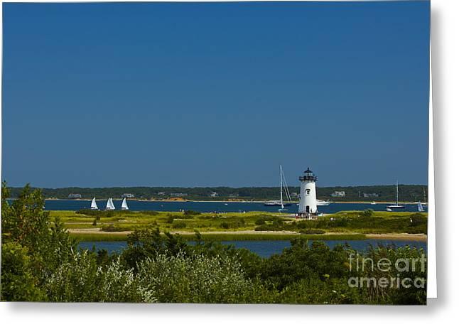 Amazing Jules Greeting Cards - Edgartown Lighthouse Greeting Card by Amazing Jules