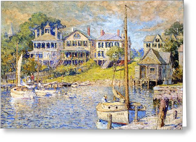 Yachting Greeting Cards - Edgartown  Marthas Vineyard Greeting Card by Colin Campbell Cooper
