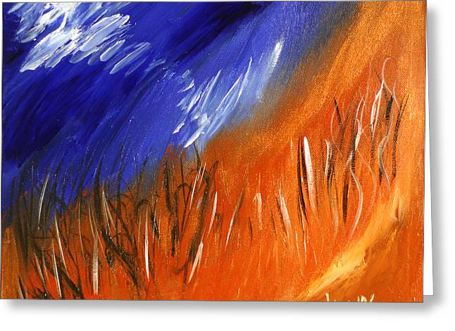 Abstract Expressionist Greeting Cards - Edge Of Autumn Greeting Card by Donna Blackhall