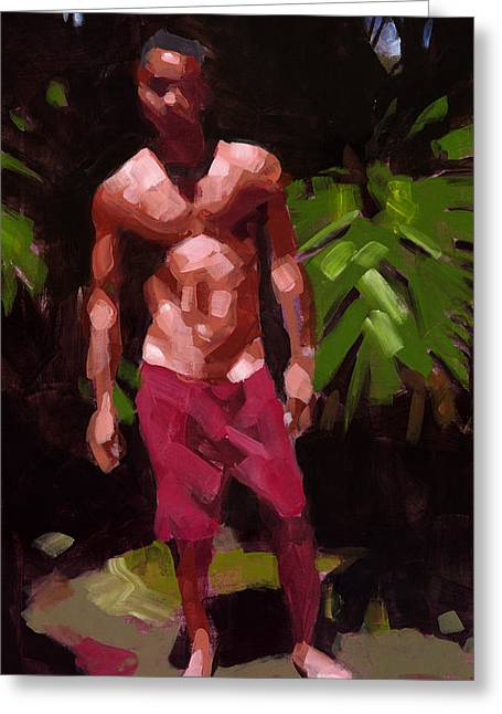 Male Figure Greeting Cards - Edge of the Forest Greeting Card by Douglas Simonson