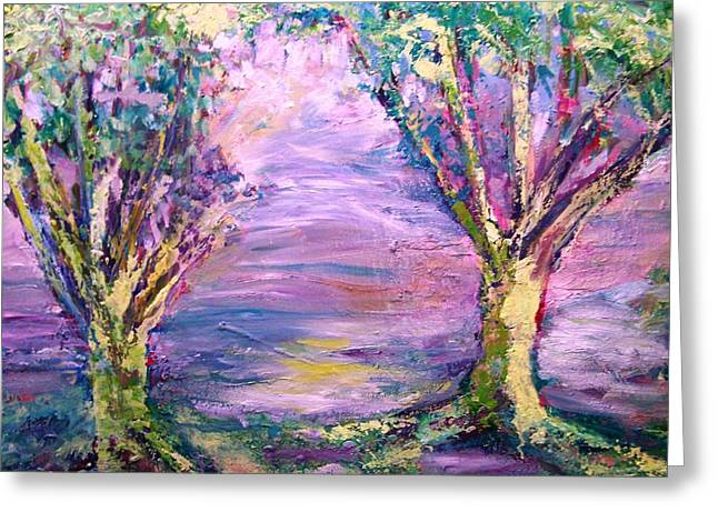 Tree Roots Paintings Greeting Cards - Edge of the Mountain Greeting Card by Patricia Taylor