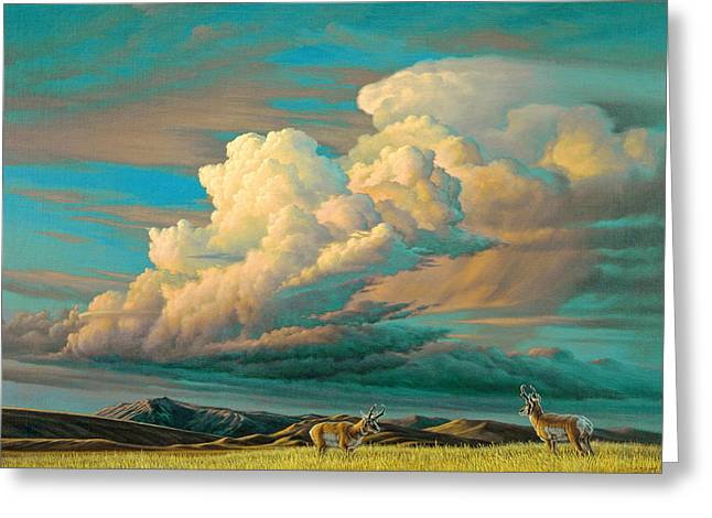 Pronghorn Greeting Cards - Edge of the Prairie- Pronghorn Greeting Card by Paul Krapf