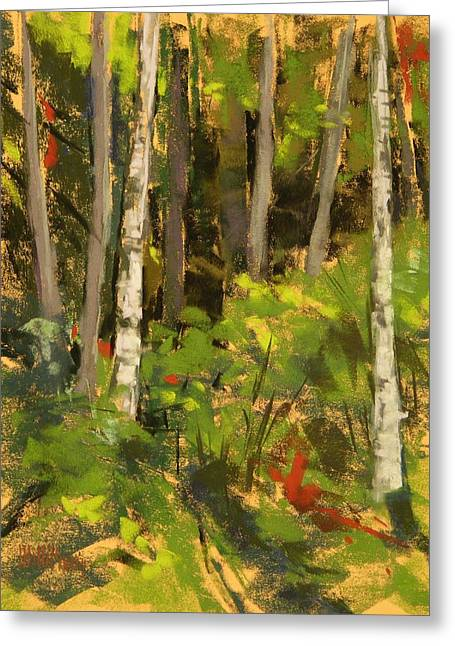 Pacific Northwest Pastels Greeting Cards - Edge of the Woods Greeting Card by Mary McInnis