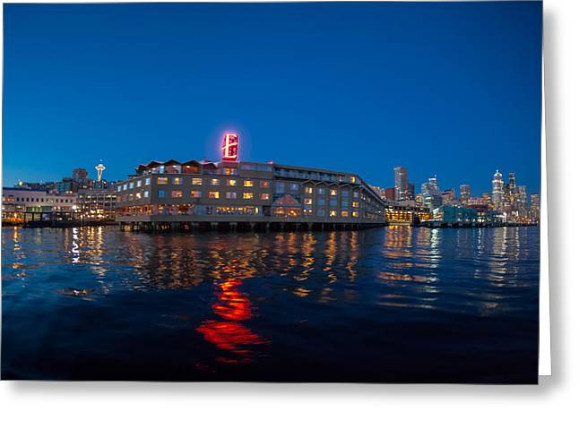 Reflection Greeting Cards - Edgewater The Big Red E Greeting Card by Scott Campbell