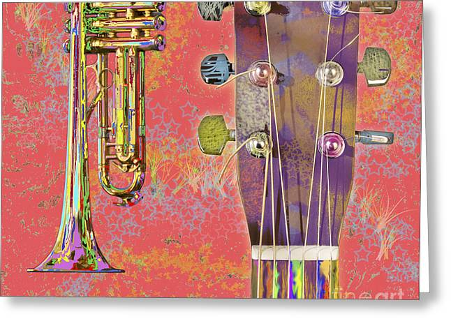 Dappled Light Greeting Cards - Edible Instruments on a Red Background Greeting Card by Gordon Wood