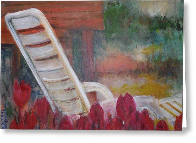 Lounge Paintings Greeting Cards - Edies Tulips Greeting Card by Gary Snyder