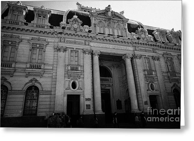 Edificios Greeting Cards - edificio correo central main post office building Santiago Chile Greeting Card by Joe Fox