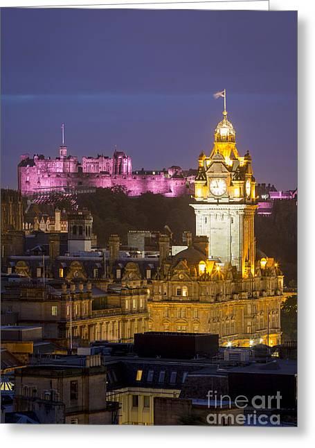 Balmoral Greeting Cards - Edinburgh - Twilight Greeting Card by Brian Jannsen