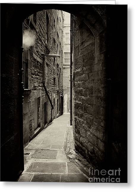 Alleys Greeting Cards - Edinburgh alley sepia Greeting Card by Jane Rix