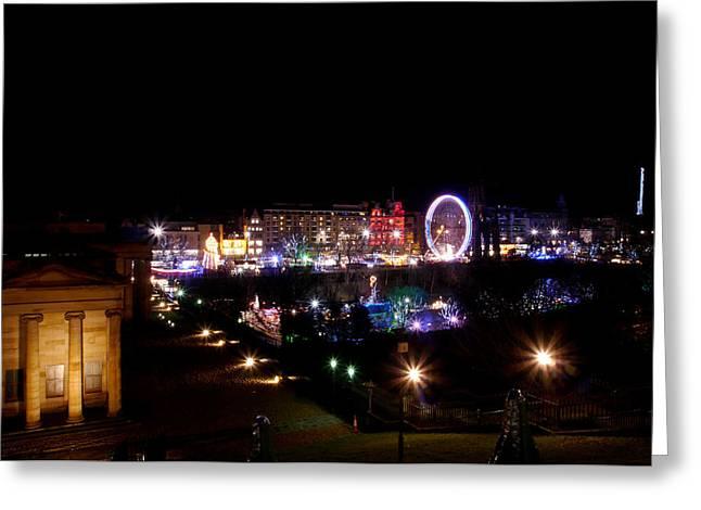 Carosel Greeting Cards - Edinburgh at christmas Greeting Card by Jim Sloan