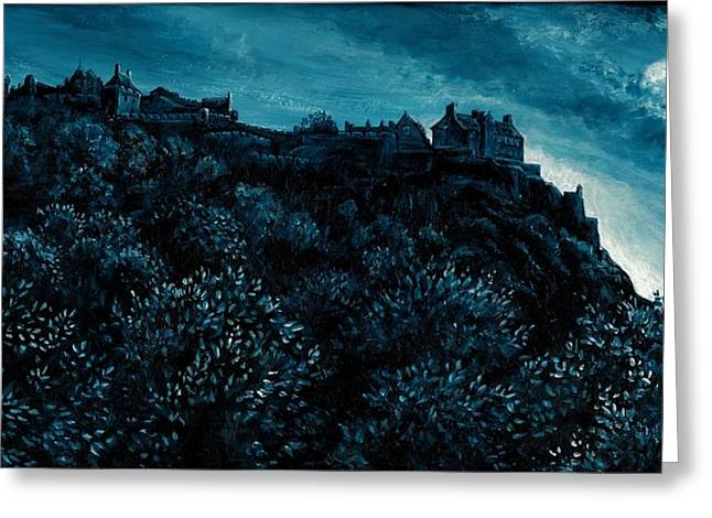 Gloaming Paintings Greeting Cards - Edinburgh castle  Greeting Card by Abigail Mohon