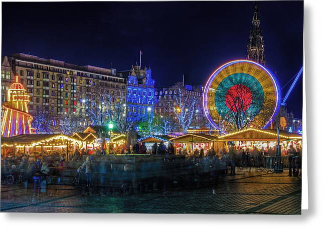 Helter-skelter Greeting Cards - Edinburgh Christmas Market Greeting Card by Ross G Strachan