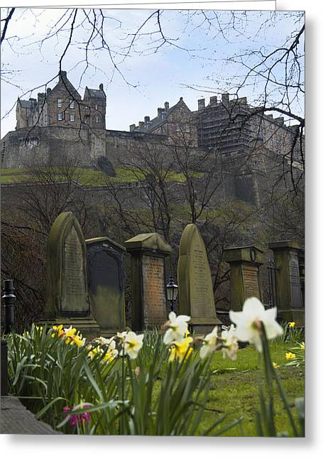 Stones Digital Art Greeting Cards - Edinburgh Graveyard and Castle Greeting Card by Mike McGlothlen