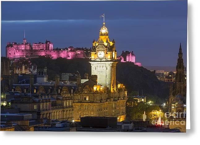 Balmoral Greeting Cards - Edinburgh Night Greeting Card by Brian Jannsen