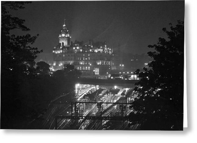 Bill Mock Greeting Cards - Edinburgh Night Rain Greeting Card by Bill Mock
