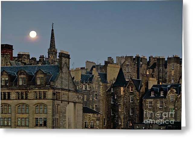 Tron Greeting Cards - Edinburgh Old Town skyline from Princes Street with the spire of Tron Kirk dusk evening full moon Greeting Card by David Lyons