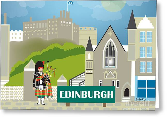 Wall City Prints Greeting Cards - Edinburgh Scotland Skyline Greeting Card by Karen Young