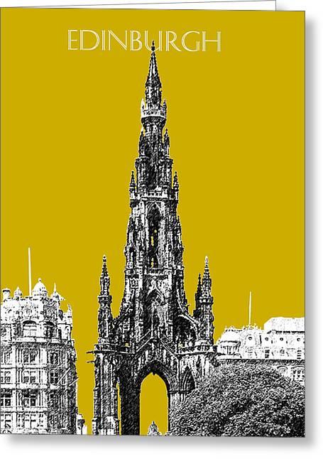 Edinburgh Skyline Scott Monument - Gold Greeting Card by DB Artist