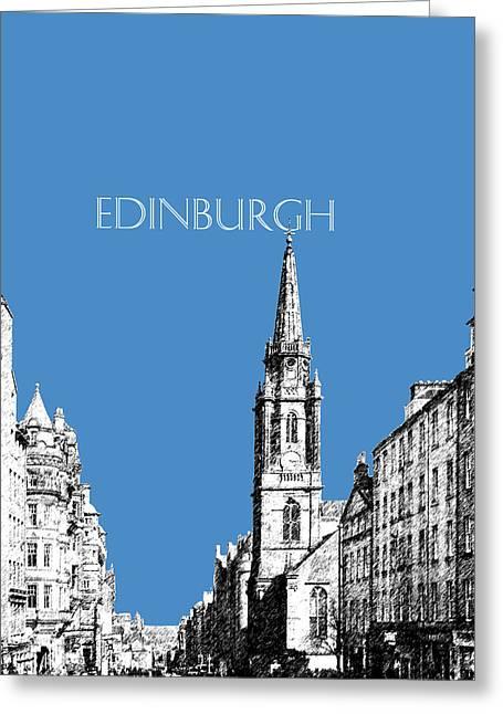 Royal Art Greeting Cards - Edinburgh Skyline The Royal Mile - Slate Greeting Card by DB Artist