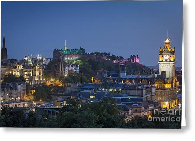 Balmoral Greeting Cards - Edinburgh Twilight Greeting Card by Brian Jannsen