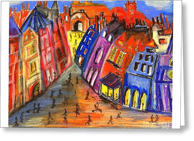 Historic Architecture Pastels Greeting Cards - Edinburghs Royal Mile  Greeting Card by Karen Larter