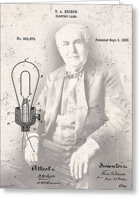 Edison Greeting Cards - EDISON and ELECTRIC LAMP PATENT Greeting Card by Daniel Hagerman