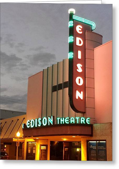 Edison Greeting Cards - Edison Theatre at Dusk Greeting Card by Jennifer Boisvert