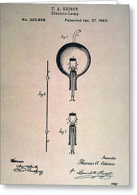 Edison Greeting Cards - Edison Electric Lamp, 1880 Greeting Card by Granger