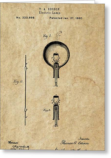 Edison Greeting Cards - Edison Electric Lamp 2 Patent Art 1880 Greeting Card by Daniel Hagerman