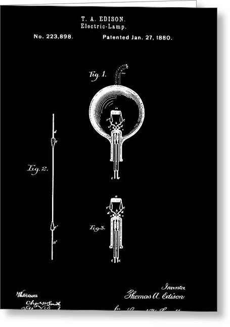 Edison Greeting Cards - Edison Electric Lamp 3 Patent Art 1880 Greeting Card by Daniel Hagerman