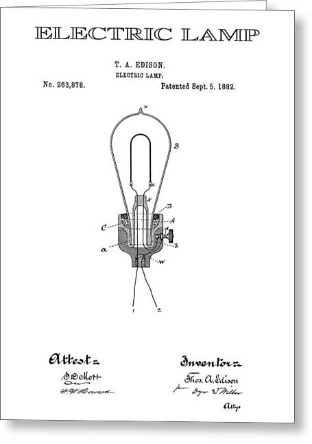 Best Sellers -  - Edison Greeting Cards - Edison Electric Lamp Patent  1882 Greeting Card by Daniel Hagerman
