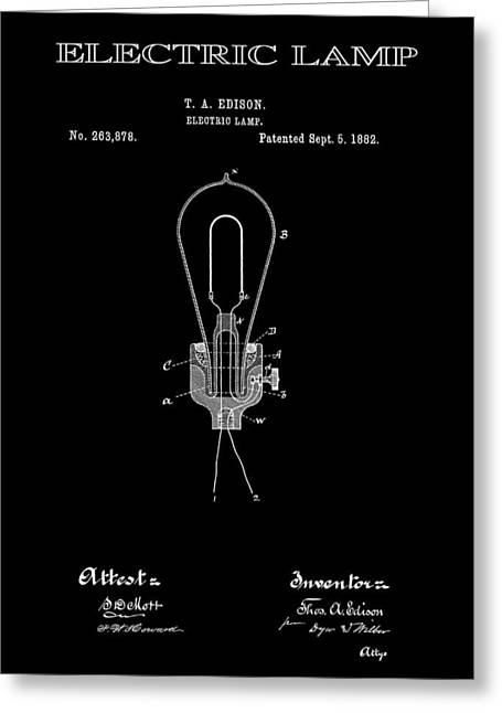 Best Sellers -  - Edison Greeting Cards - Edison Electric Lamp Patent 2  -  1882 Greeting Card by Daniel Hagerman