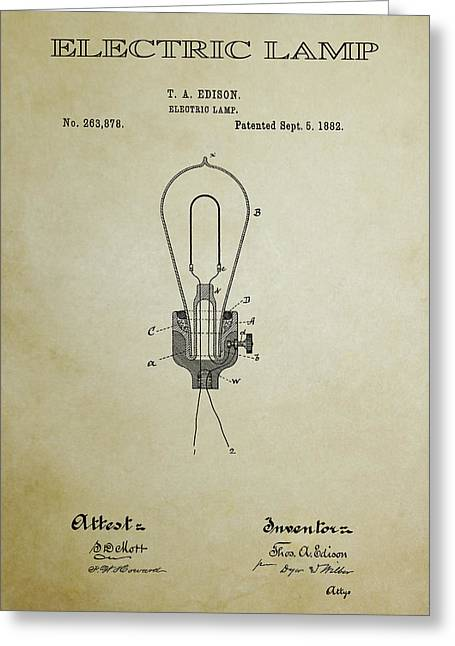 Best Sellers -  - Edison Greeting Cards - Edison Electric Lamp Patent 3 -  1882 Greeting Card by Daniel Hagerman