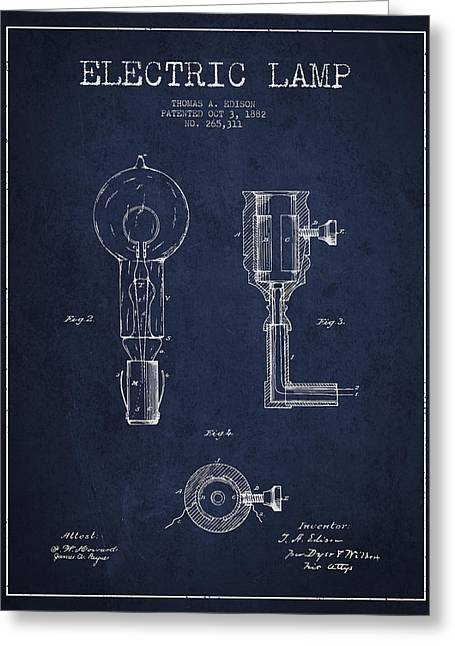 Edison Greeting Cards - Edison Electric Lamp Patent from 1882 - Blue Greeting Card by Aged Pixel