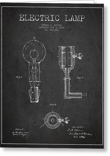 Thomas Greeting Cards - Edison Electric Lamp Patent from 1882 - Dark Greeting Card by Aged Pixel
