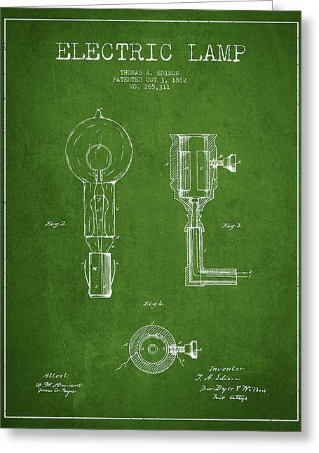 Thomas Greeting Cards - Edison Electric Lamp Patent from 1882 - Green Greeting Card by Aged Pixel