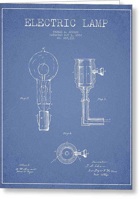 Edison Greeting Cards - Edison Electric Lamp Patent from 1882 - Light Blue Greeting Card by Aged Pixel