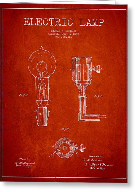 Edison Greeting Cards - Edison Electric Lamp Patent from 1882 - Red Greeting Card by Aged Pixel