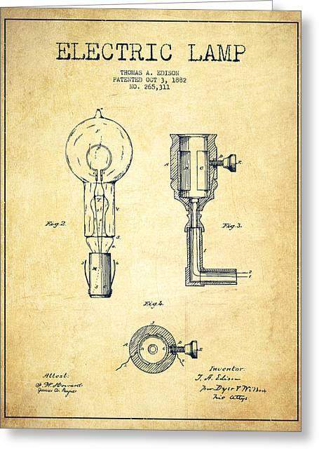 Thomas Greeting Cards - Edison Electric Lamp Patent from 1882 - Vintage Greeting Card by Aged Pixel