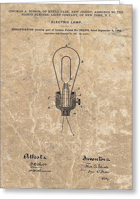 Edison Electric Lamp Patent Marble Greeting Card by Dan Sproul