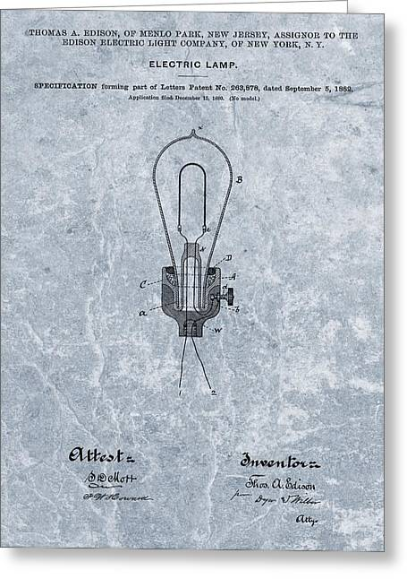 Wire Mixed Media Greeting Cards - Edison Electric Lamp Patent Orginal File Greeting Card by Dan Sproul
