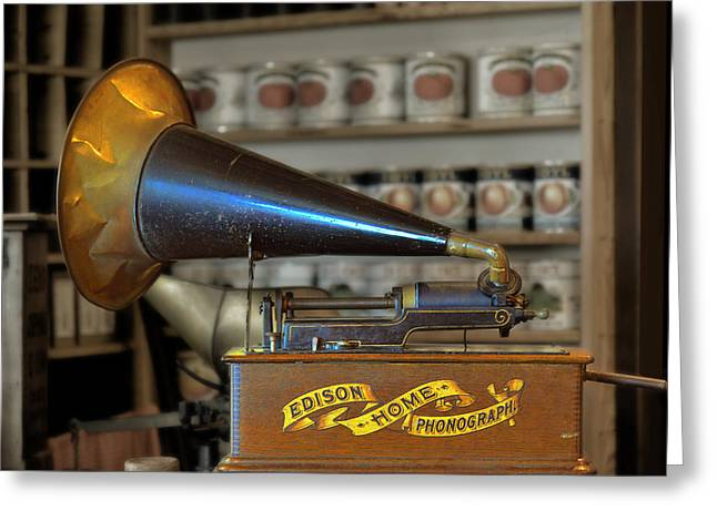 Playing Music Greeting Cards - Edison Home Phonograph with Morning Glory Horn Greeting Card by Christine Till